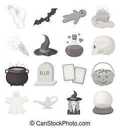 Black and white magic set icons in monochrome style. Big...