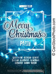 Merry Christmas Party Flyer. Abstract Winter Poster Background. Vector Illustration.