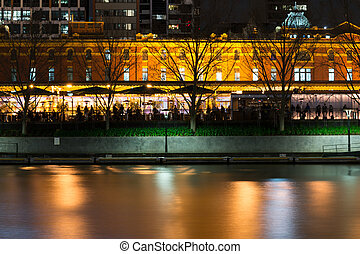 By the Yarra river in Melbourne at night - Melbourne has...