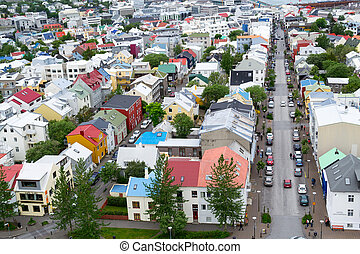 From the top of Hallgrimskirkja - Reykjavik is the capital...