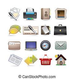 en línea, empresa / negocio, icono, Conjunto