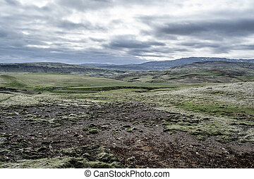 Typical Iclandic landscape - Tundra landscape in Iceland