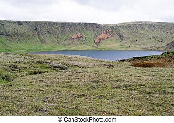 Lake over a mountain - Tundra landscape in Iceland