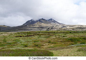 Aproaching the volcano - Tundra landscape in Iceland