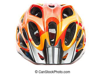 orange bicycle helmet