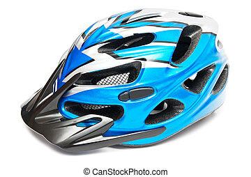 blue bicycle helmet - isolated on white blue bicycle helmet