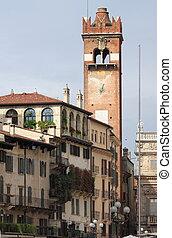 Gardello tower in Erbe square. Verona, Italy