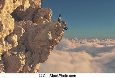 Young man sitting looking over mountains. - Young man...