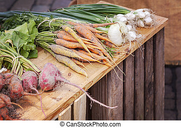 Organic root vegetables - Fresh organic root vegetables on...