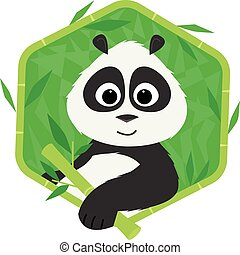 Panda Bear - Icon of a cute panda holding a bamboo. Eps10