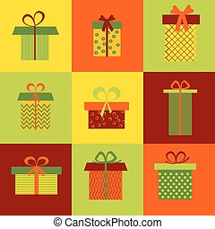 Set of nine different gift boxes on colorful background.