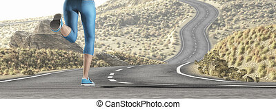 Young girl running over a highway.