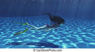 Girl swimming underwater in a tropical sea. This is a 3d...