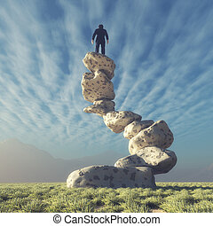Silhouette of a man on top of rocks - Man on top of rocks...