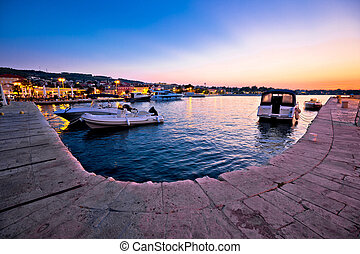Supetar waterfront and harbor evening view, island of Brac,...