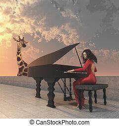 The beautiful women . - Beautiful women in red dress playing...