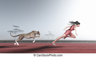 Woman competes with a cheetah