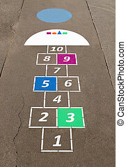 Hopscotch - Cells for game hopscotch drawn with chalk on...