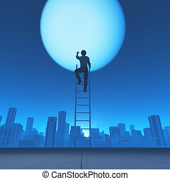 Man climb a ladder to the moon - Man climb a ladder to the...
