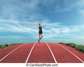 Athlete runner rises his hands to the sky