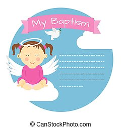 Baptism girl. Space for text