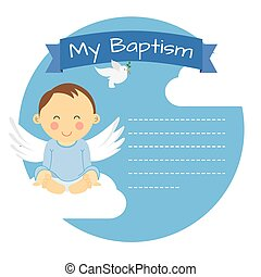 Baptism boy. Space for text