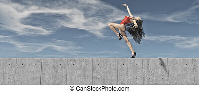 Young girl in heels execute gymnastic exercises on the edge...