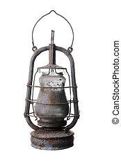 Old kerosene lamp. Isolated on white background