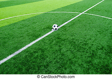 soccer field grass with ball at kick off point art, soccer,...