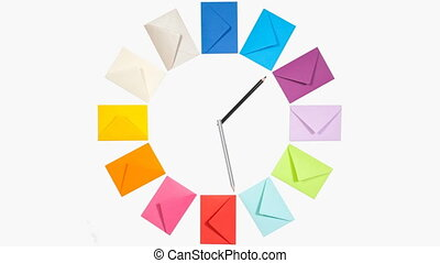 Clock of twelve envelopes - Clock of twelve colored letter...