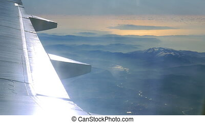 Landscape scene, view from flying airplane