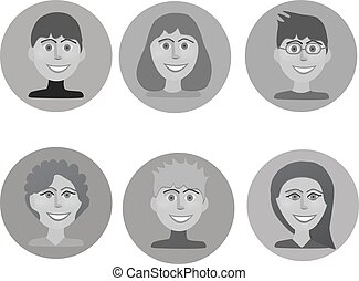 Set of avatars peoples in greys colours. Vector...