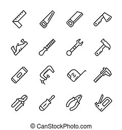 Set line icons of hand tool isolated on white. Vector...