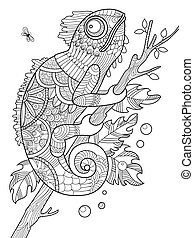 Chameleon coloring book for adults vector illustration....