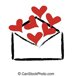 Red hearts in the envelope