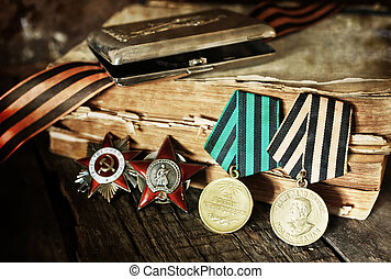 aged effect medals world war great composition - old...