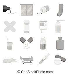 Medicine and hospital set icons in monochrome style. Big...