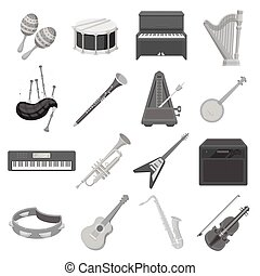 Musical instruments set icons in monochrome style. Big...