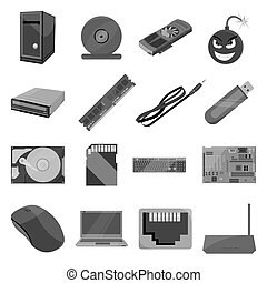 Personal computer set icons in monochrome style. Big...