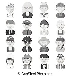 Proffesion set icons in monochrome style. Big collection of...