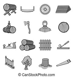 Sawmil and timber set icons in monochrome style. Big...