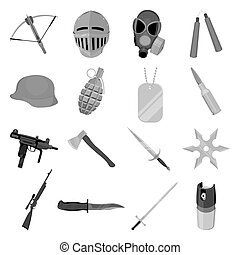 Weapon set icons in monochrome style. Big collection of...