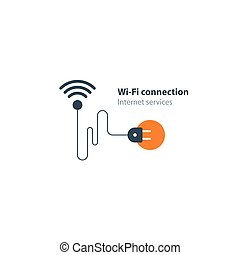 Wi-Fi connection concept, wireless internet access - Flat...