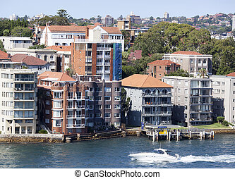 Sydney Residential District - The boat passing by Kirribilli...