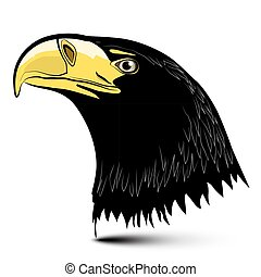 Eagle Head Isolated on White Background. Vector...
