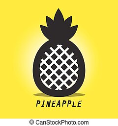 Pineapple Vector. Black Ananas Symbol on Yellow Background.