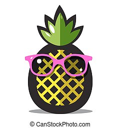 Pineapple Vector. Yellow Ananas Cartoon with Green Leaves...