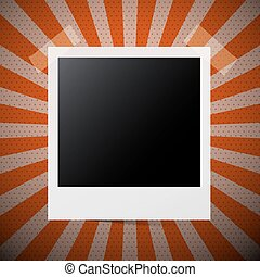 Vector Photo Frame on Retro Red Background