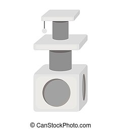 Cat house icon in monochrome style isolated on white background. Cat symbol stock vector illustration.