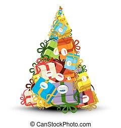 Christmas Tree Made from Gift Boxes - Vector